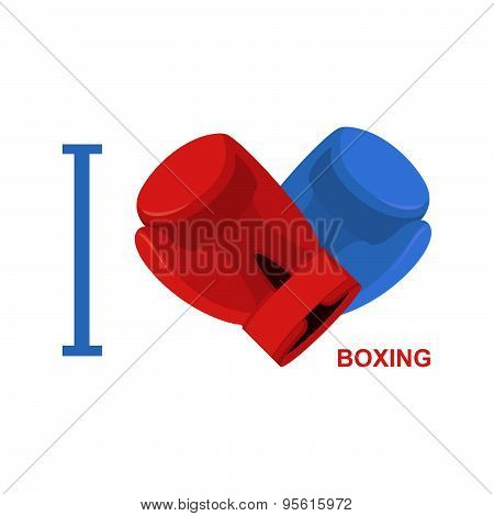 I love boxing. Symbol of  heart of boxing gloves. Vector illustration