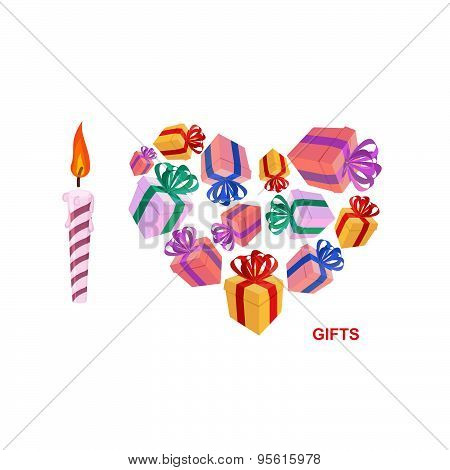 I love gifts. Symbol of heart of boxes of gifts. Vector illustration