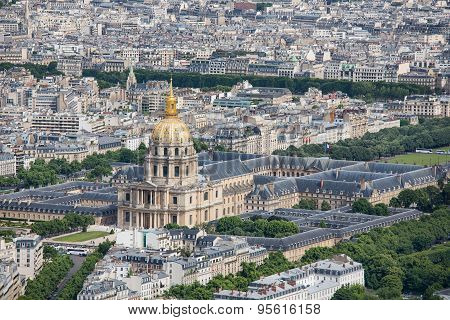 Panorama Of Paris With Aerial View At Dome Des Invalides