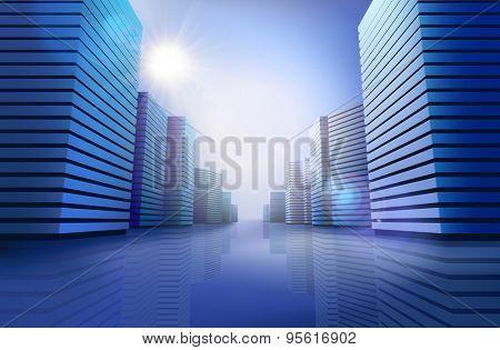 City skyline at sunlight. Vector illustration