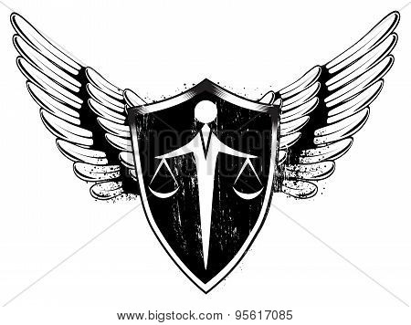 Scales and sword balance. Shield and wings.