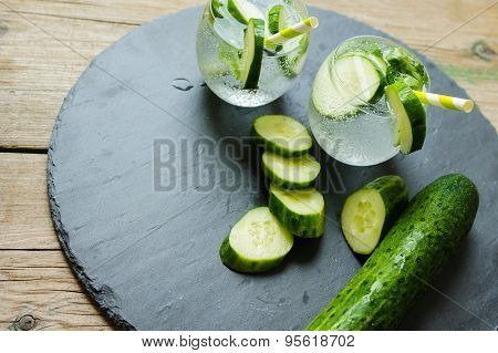 Cold Fresh Lemonade With Cucumber