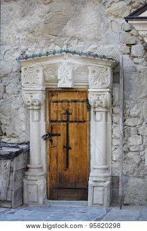Vintage Wooden Door. Assumption Monastery Of The Caves, Crimea