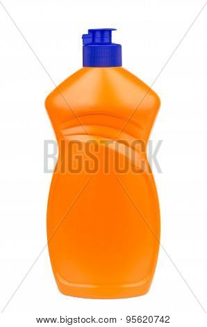 Liquid Detergent In Plastic Orange Bottle Isolated On White