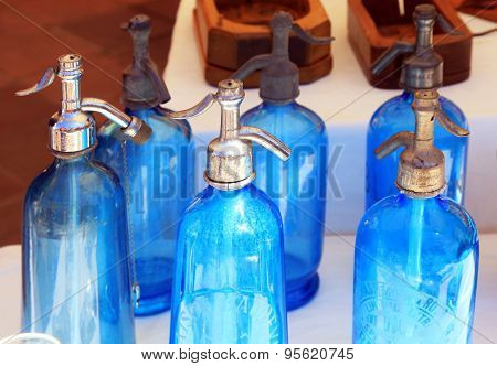 Antique Blue Soda Syphon Bottles On Flea Market