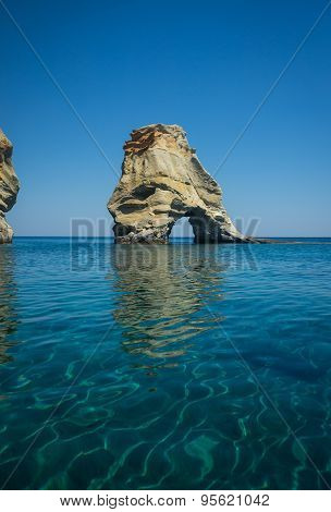 Picturesque Sea Landscape And White Rocks At Kleftiko, Milos, Greece