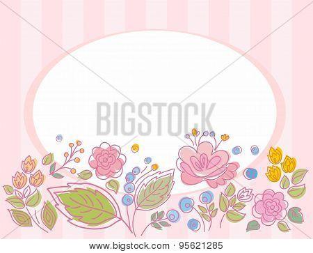 Postcard, Frame, Pink, Stripe...