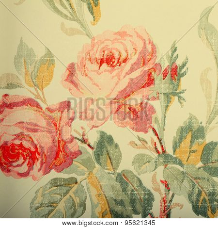 Detail Of Vintage Wallpaper With Rose Floral Victorian Pattern