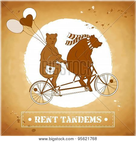 Couple on a tandem bicycle. Bears in a circus.