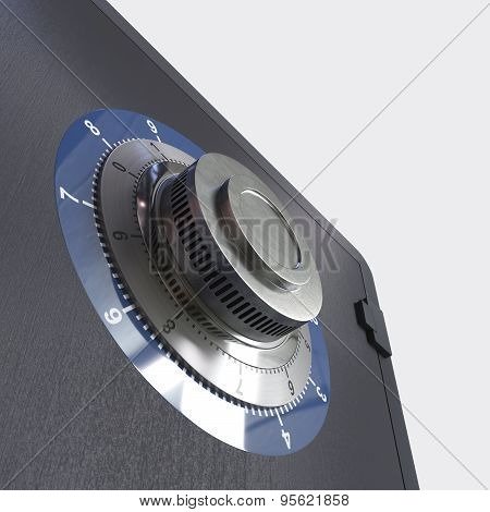 Close up of a safe lock conceptual image for security and business
