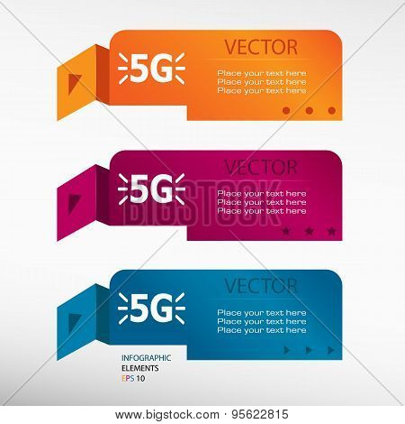 5G Sign On Origami Paper Banners.