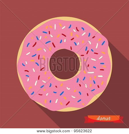 Donut With Coloured Sprinkles.