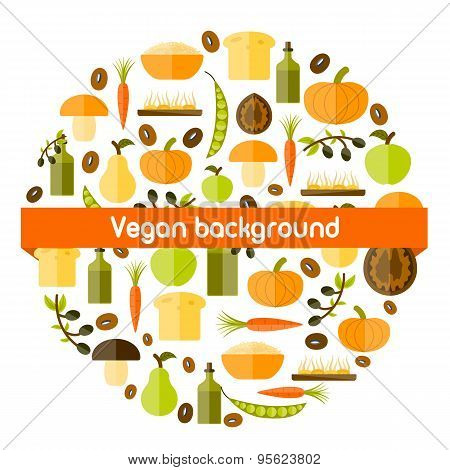 Modern vector background in circle shape with flat shadow style objects on vegan food theme
