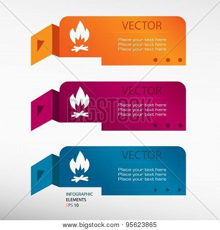 Bonfire Icon On Origami Paper Speech Bubble Or Web Banner, Prints.