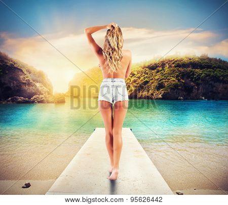 Sexy walk on a jetty