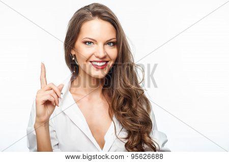 Attractive young healthy woman has great idea