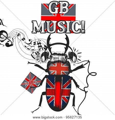 Flayer With Beetle Colored In British Flag In Headphones Symbol Of English Music
