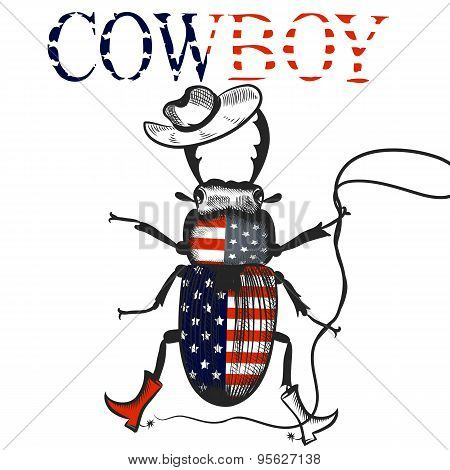 Creative Background With Cowboy Beetle Colored In Usa Flag Rodeo Symbol