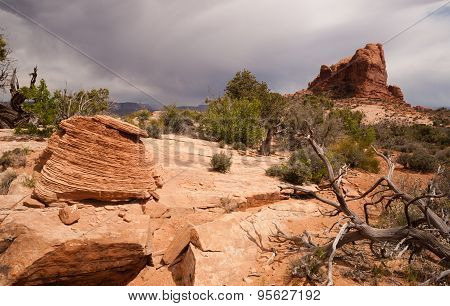 Big Storm Clouds Over Desert Buttes Arches National Park