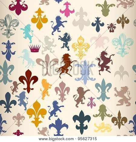 Seamless Pattern With Heraldic Elements