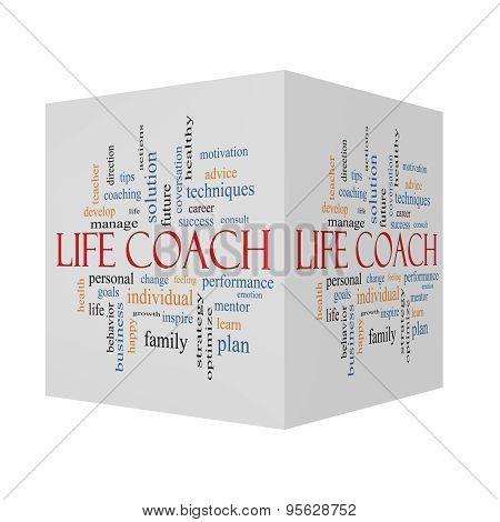 Life Coach 3D Cube Word Cloud Concept