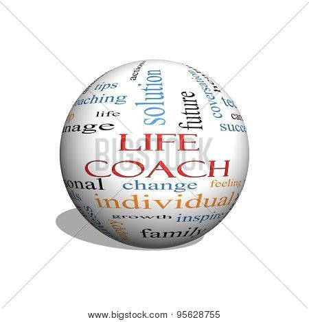 Life Coach 3D Sphere Word Cloud Concept