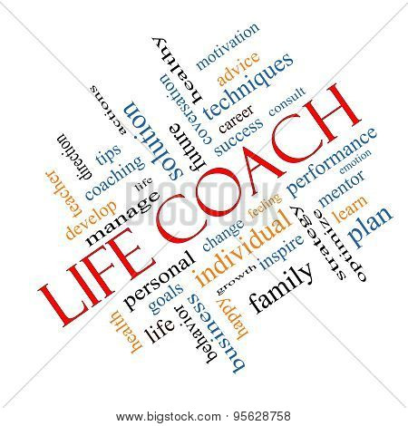 Life Coach Word Cloud Concept Angled