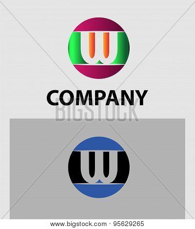 Set of two isolated stylish W symbol graphic elements V logo
