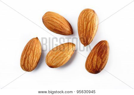 Almonds On White Background