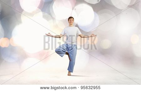 Young man representing soul balance and meditation concept