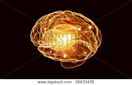 Concept of human intelligence with human brain on black background