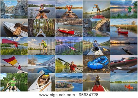 collection of paddling pictures from Colorado featuring variety of boats (kayak, canoe, outrigger,packraft, stand up paddleboard) and the same male model