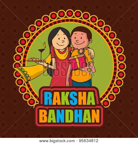 Creative sticky design with illustration of a sister hugging her brother on occasion of Indian festival, Raksha Bandhan celebration.