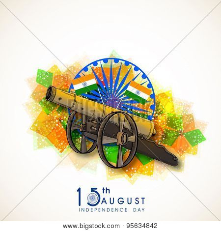 Shiny cannon with Indian flag on blue Ashoka Wheel and abstract shiny background for Indian Independence Day celebration.