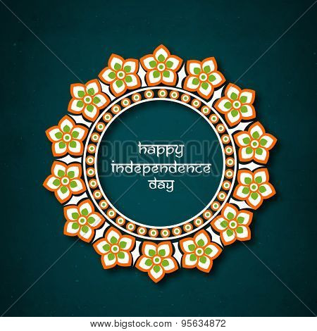National flag color floral frame for Indian Independence Day celebration.