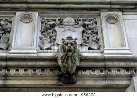 Detail  Elaborate Mansion With Coat Of Arms