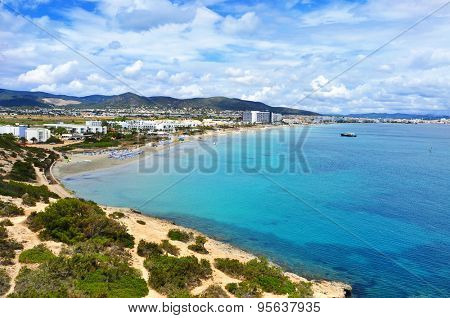a panoramic view of the Platja den Bossa beach in Ibiza Town, in Ibiza Island, Balearic Islands, Spain