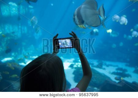 little girl taking picture of fish at aquarium on camera phone