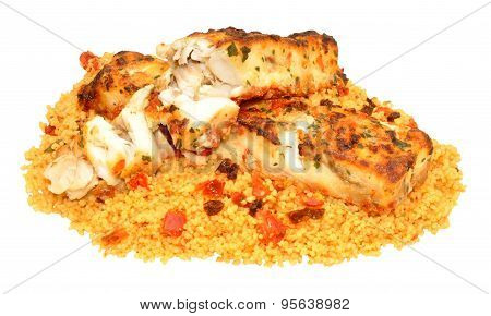 Herb Covered Grilled Fish With Couscous