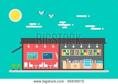 Flat Design Of Coffee Shop Interior