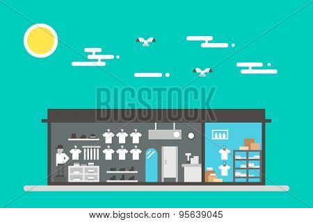 Flat Design Of Cloth Shop Interior