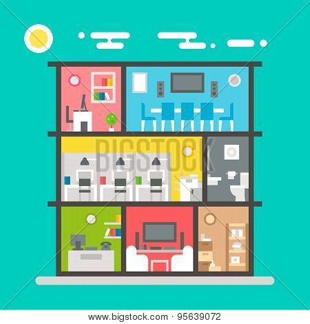 Flat Design Of Office Interior