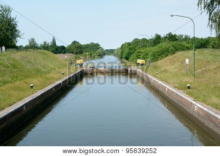 Sluice Gate End Electric Motors On Canal Banks
