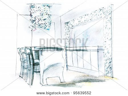 Architectural Sketch Of Living Room