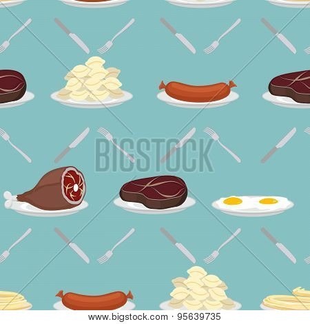 Food from meat seamless pattern. Ham and steak. Scrambled eggs and pasta. Food on plate. Sausage and