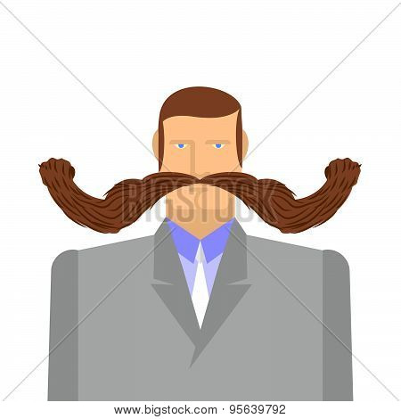 Man with mustache. Barbel. Big and heavy mustache. A middle-aged man in a suit. Vector illustration
