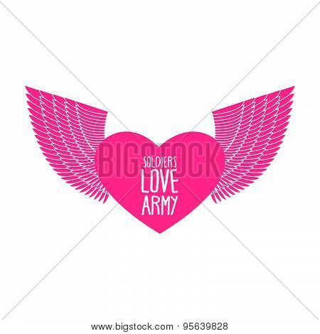 Army soldier of love. Funny military logo emblem. Pink heart with wings. Vector illustration.