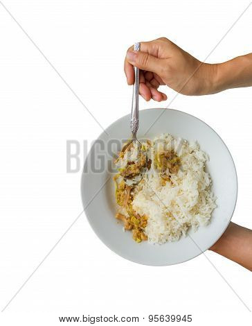 Food For Meal On White Isolate Background With Clipping Path.