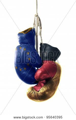 Boxing Gloves In The Color Of The European Union And Germany