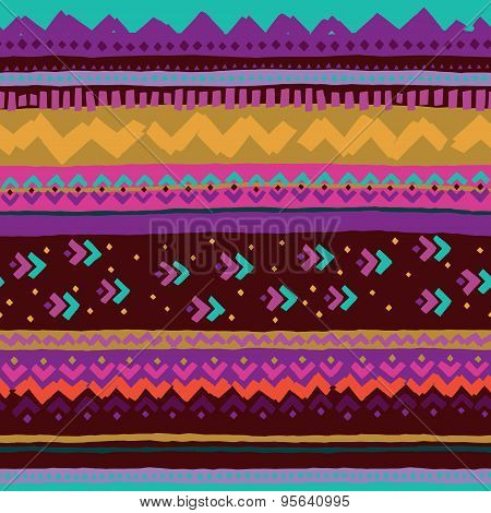 Hand drawn pattern with ethnic and tribal motifs